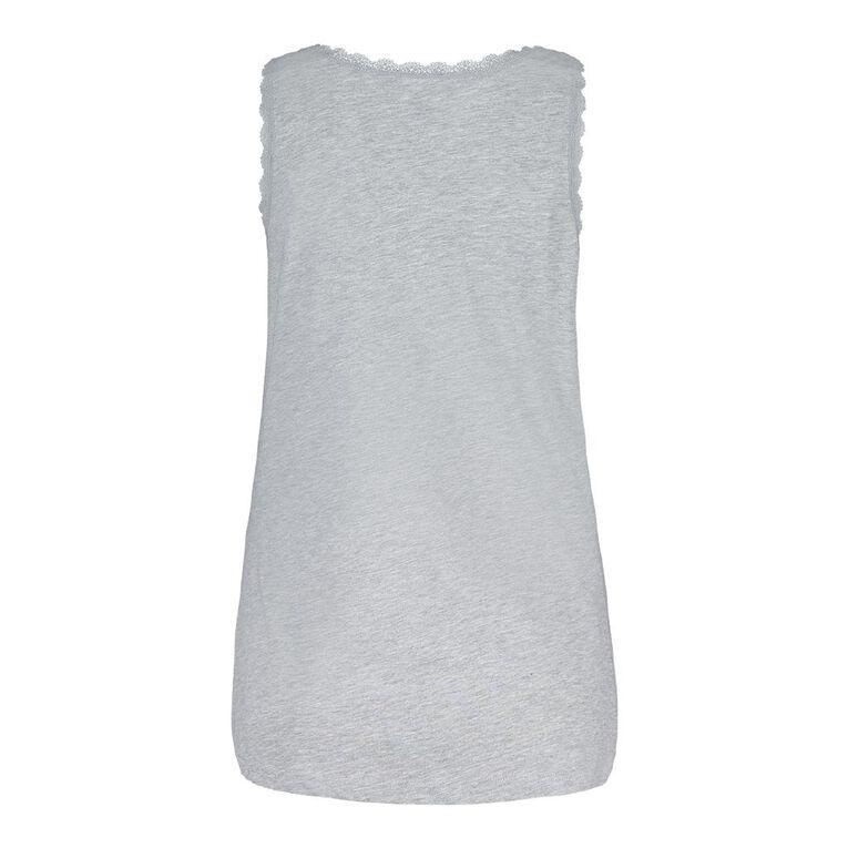 H&H Women's V Neck Lace Sleep Singlet, Grey Marle, hi-res