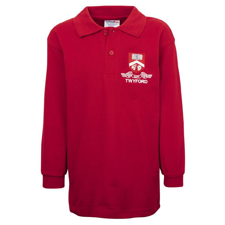 Schooltex Twyford Long Sleeve Polo with Embroidery, Red, hi-res