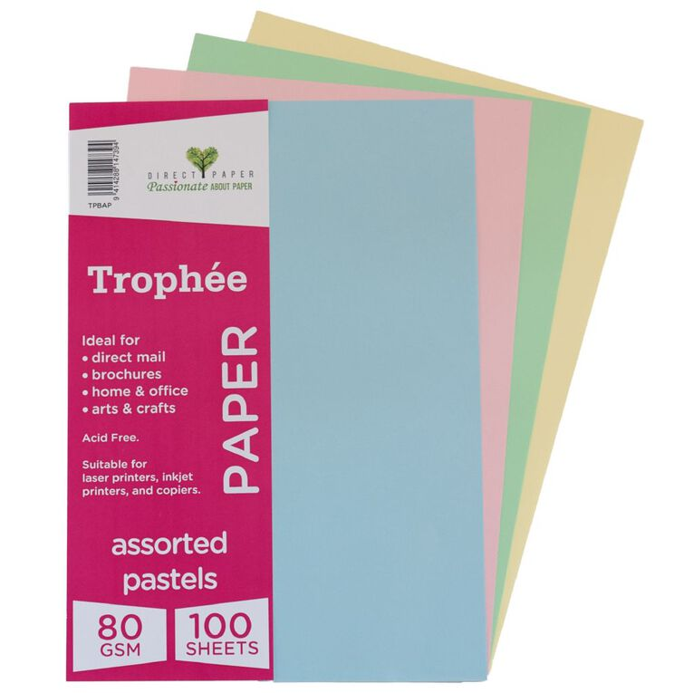 Trophee Paper 80gsm 100 Pack Pastels Assorted A4, , hi-res
