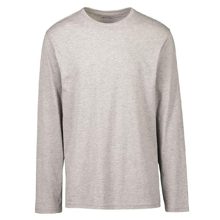 H&H Men's Crew Neck Long Sleeve Plain Tee, Grey, hi-res