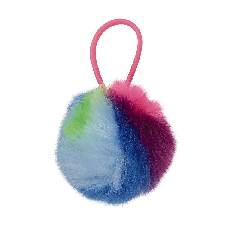 Rainbow Pom Pom Hair Tie, , hi-res