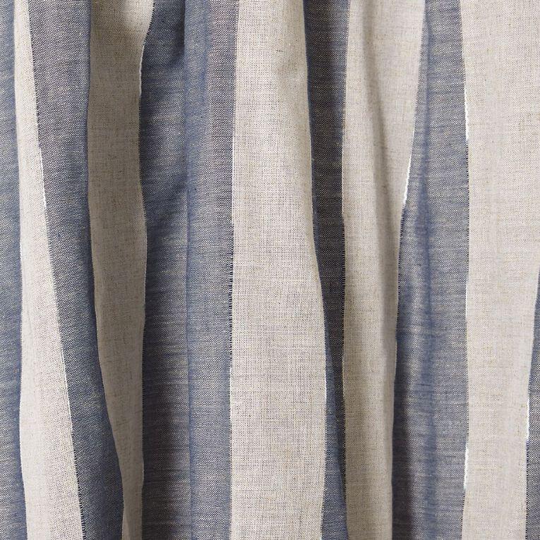 Living & Co East Hampton Curtains Blue 230-330cm Wide/205cm Drop, Blue, hi-res