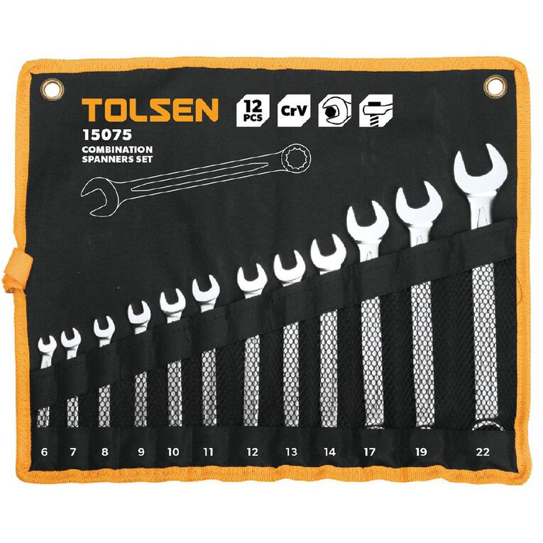 Tolsen Combination Spanner Set 12 Pack, , hi-res