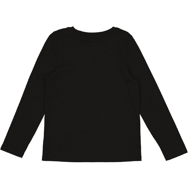 Young Original Long Sleeve Printed Tee, Black MINI, hi-res