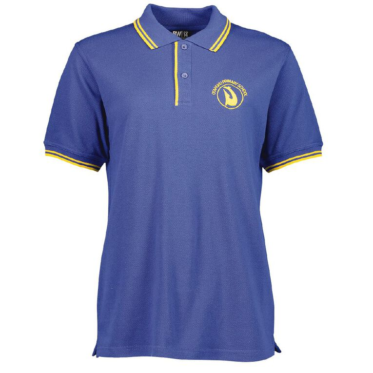 Schooltex Otahuhu Primary Short Sleeve Polo with Embroidery, Royal/Gold, hi-res