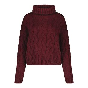 H&H Women's Cable Roll Neck Crop Jumper