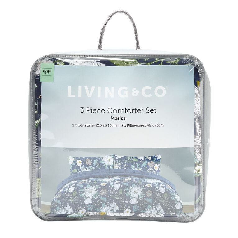 Living & Co Comforter Set 3 Piece Marisa Blue Queen, Blue, hi-res