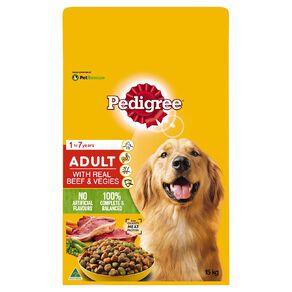 Pedigree Adult Dry Dog Food With Real Beef & Vegies 15kg Bag