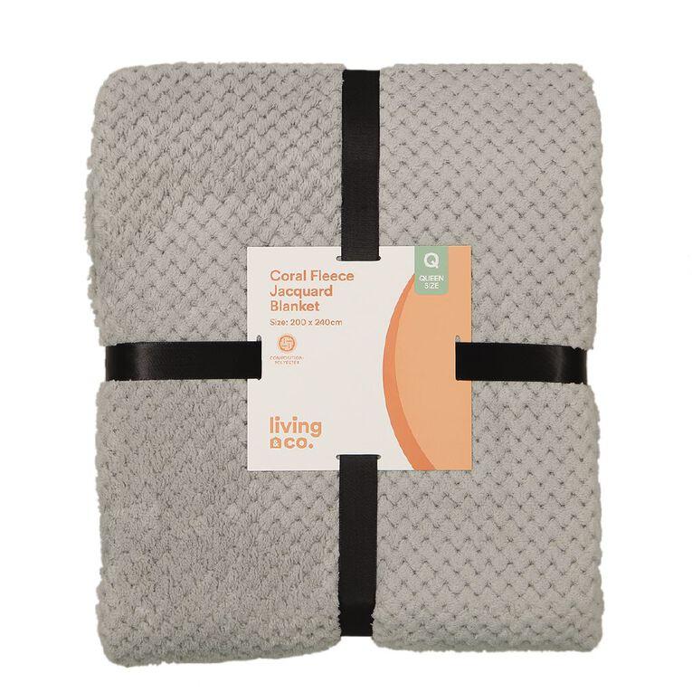 Living & Co Blanket Coral Fleece Jacquard Grey Queen, , hi-res image number null
