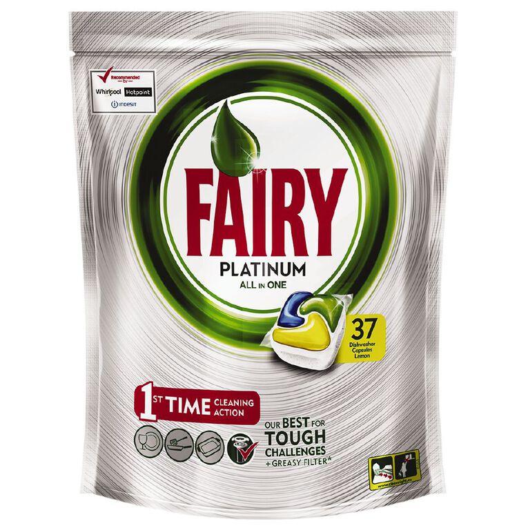 Fairy Platinum Dishwasher Capsules Lemon 37s 551g, , hi-res