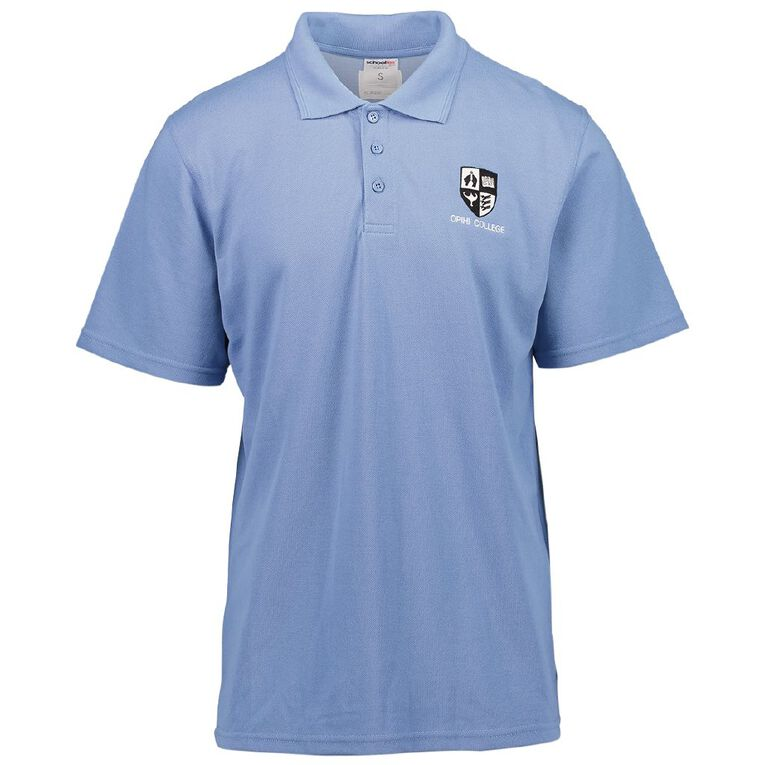 Schooltex Opihi College Short Sleeve Polo with Embroidery, Sky Blue, hi-res