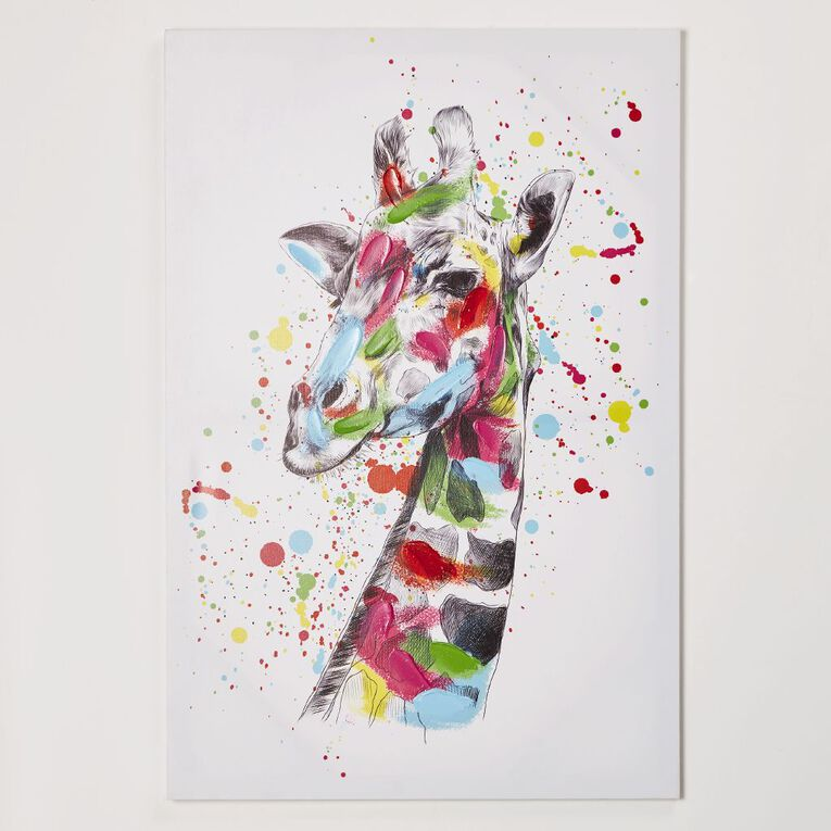 Living & Co Giraffe Colour Splash Canvas 60 x 90 x 1.8cm, , hi-res