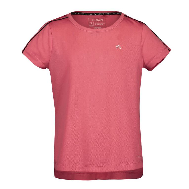 Active Intent Girls' Piping Detail Tee, Pink Mid, hi-res