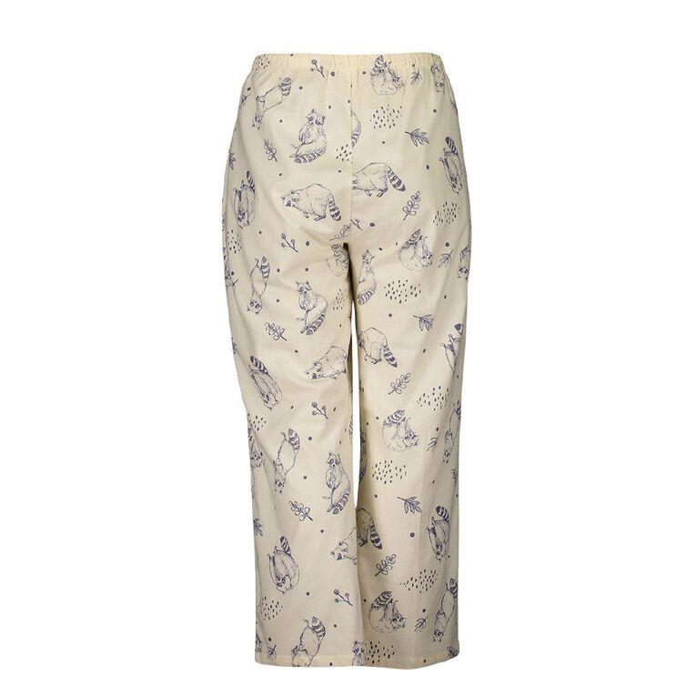 H&H Cosy Curvy Women's Flannelette Pyjama Pants, Cream, hi-res