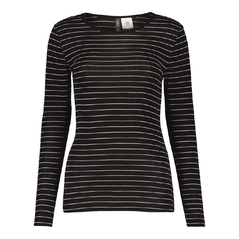 H&H Women's Merino Blend Stripe Crew, Black/White, hi-res