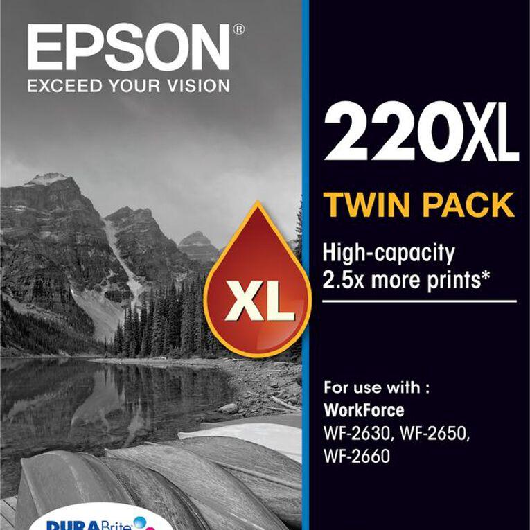 Epson Ink 220XL Black 2 Pack, , hi-res