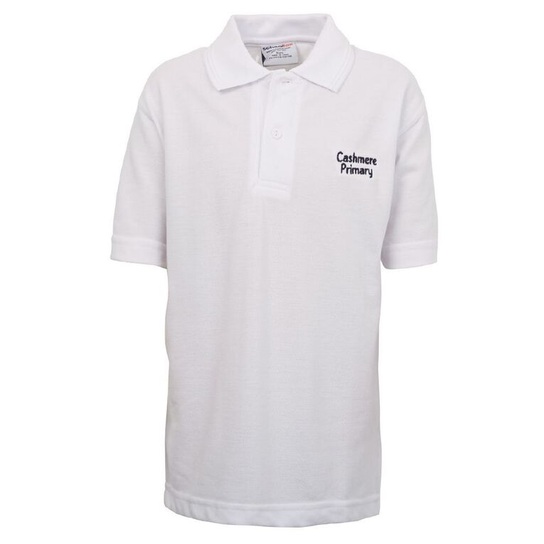 Schooltex Cashmere Primary School Short Sleeve Polo with Embroidery, White, hi-res