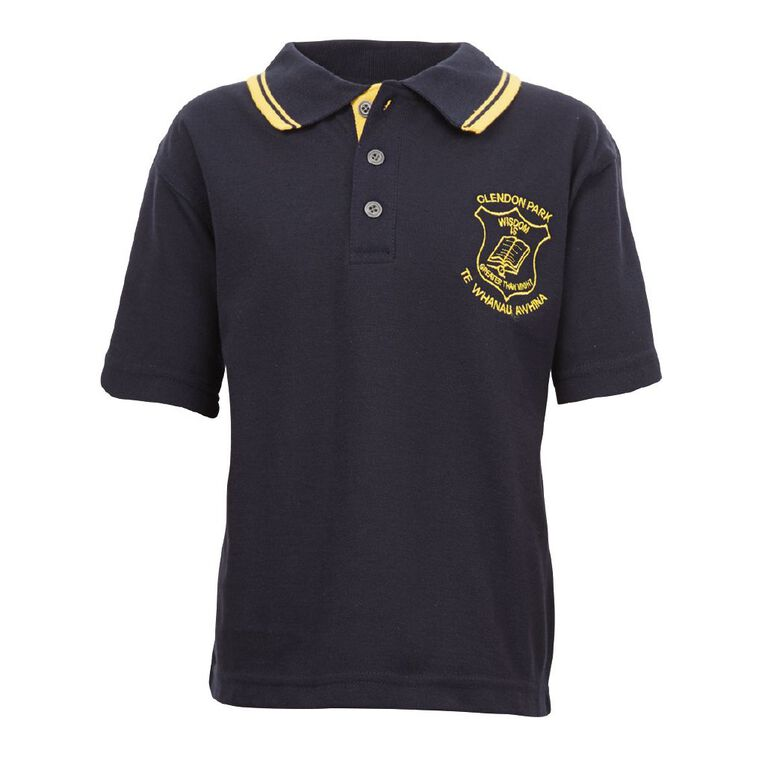 Schooltex Clendon Park Short Sleeve Polo with Embroidery, Navy/Gold, hi-res