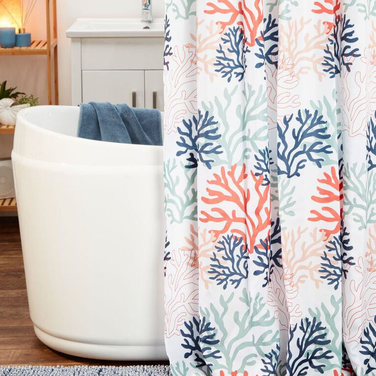 Living & Co Shower Curtain Print Coral White/Coral 180cm x 180cm, White/Coral, hi-res