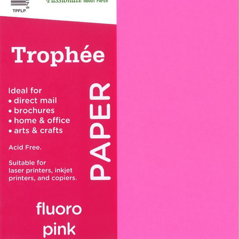 Trophee Paper 80gsm 30 Pack Fluoro Pink A4, , hi-res