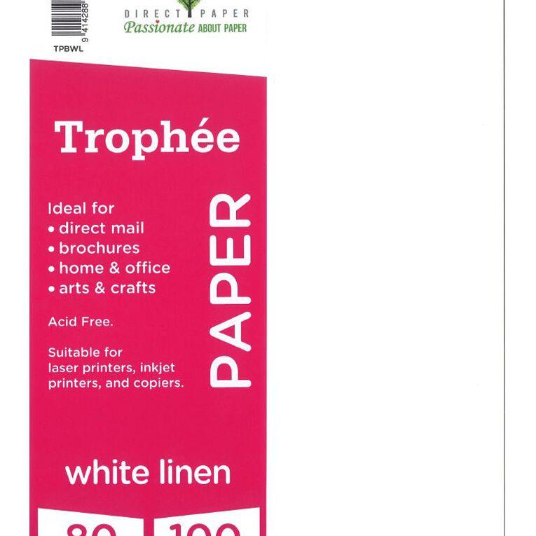 Trophee Paper 80gsm 100 Pack Linen White A4, , hi-res