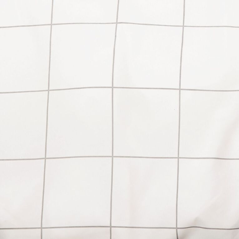 Living & Co Duvet Cover Set Microfibre Check White Queen, White, hi-res