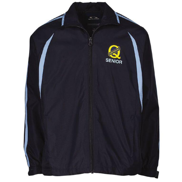 Schooltex Queenspark Track Jacket with Transfer, Navy/Sky, hi-res