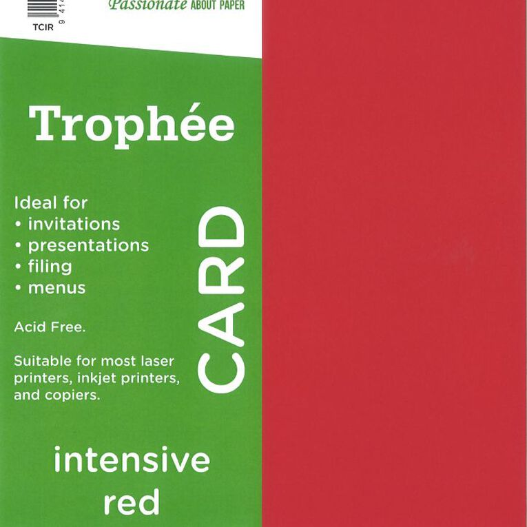 Trophee Card 160gsm 15 Pack Intensive Red A4, , hi-res