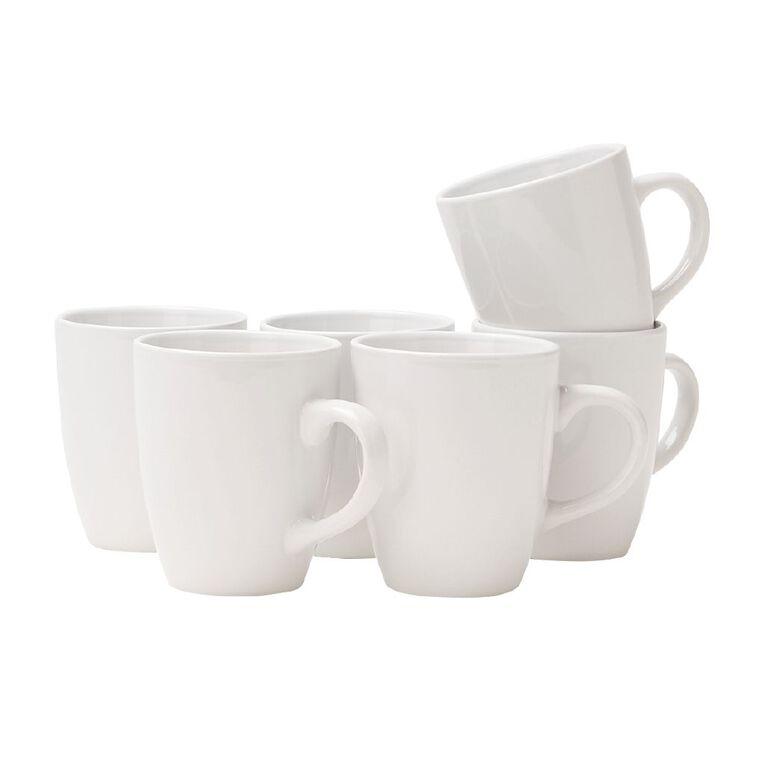 Living & Co Essentials Mug 6 Pack White 325ml, , hi-res