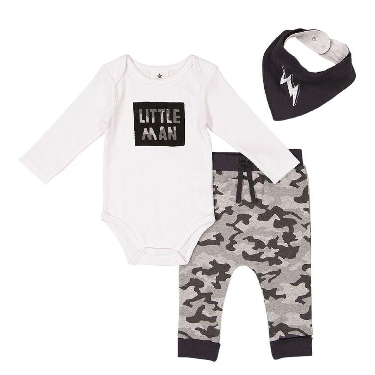 Young Original Baby 3 Piece Long Sleeve Set, Grey Dark, hi-res