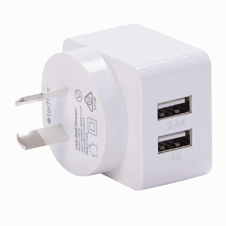 Tech.Inc Dual USB 3.4A Wall Charger 1A + 2.4A, , hi-res