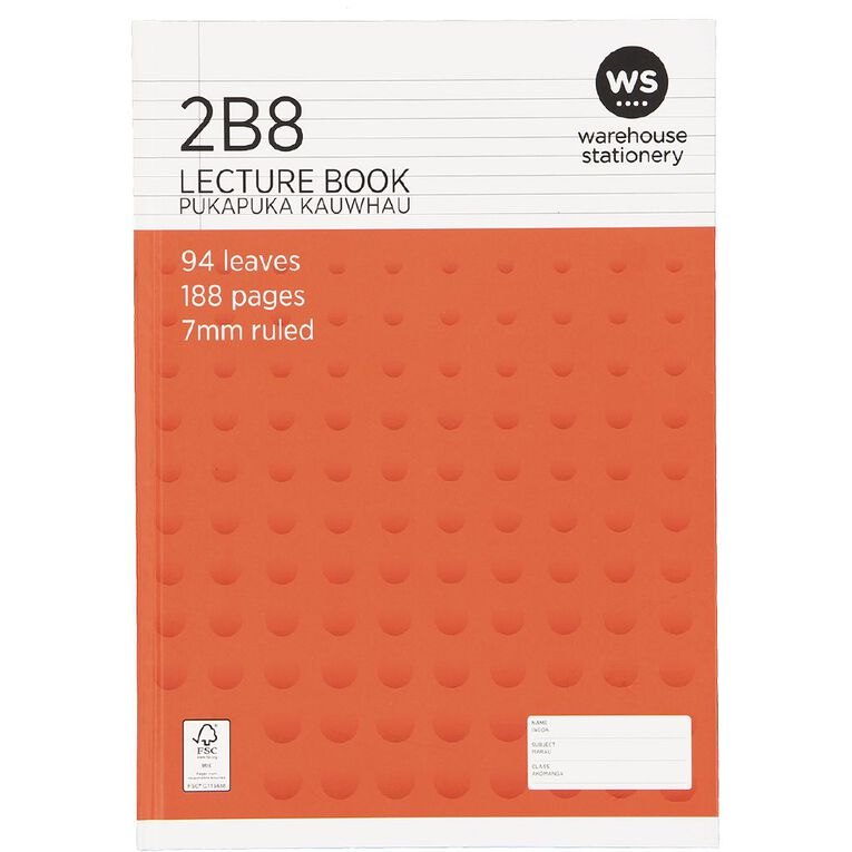 WS Lecture Book 2B8 7mm Ruled Hardcover 94 Leaf Red, , hi-res