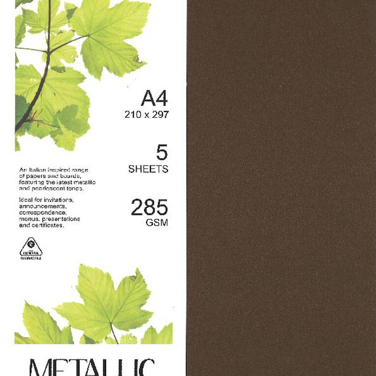 Direct Paper Metallic Board 285gsm 5 Pack Bronze A4, , hi-res