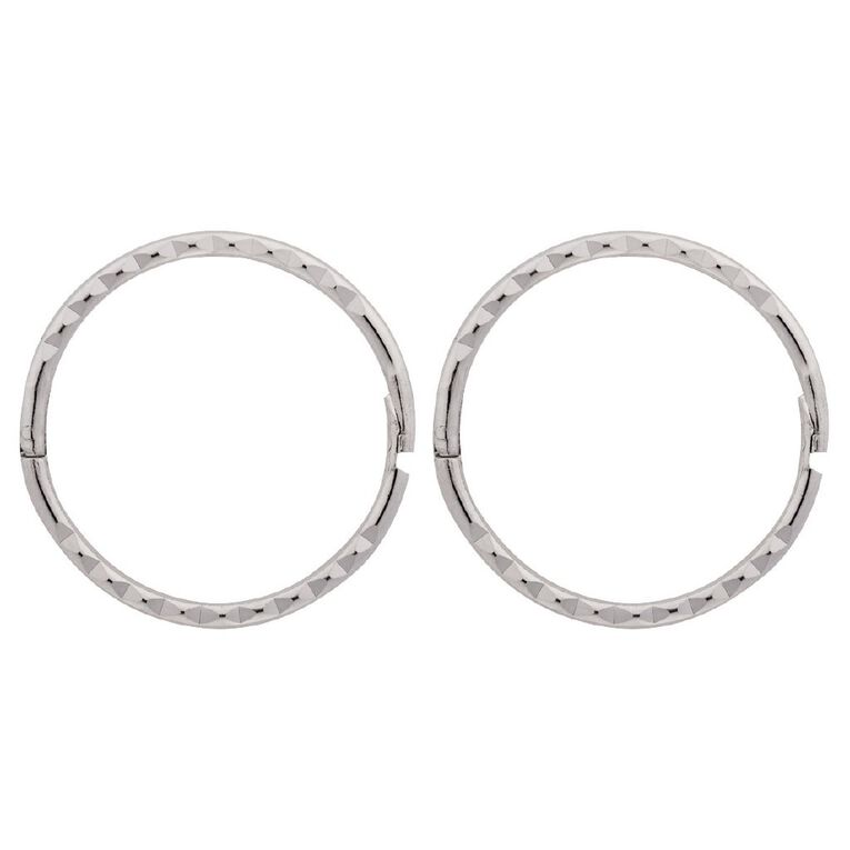 Sterling Silver Diamond Cut Sleeper Earrings 13mm, , hi-res