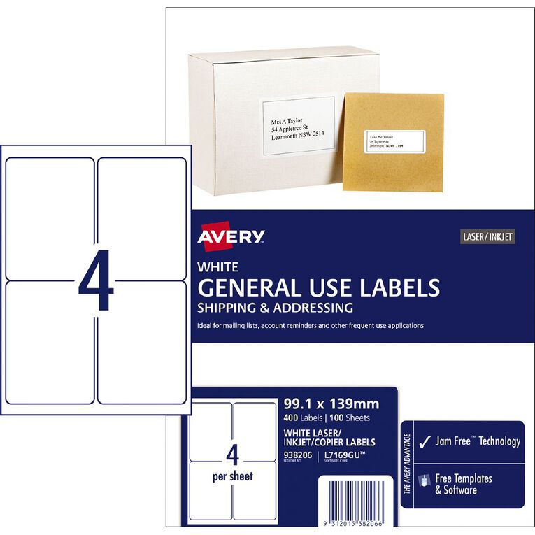 Avery General Use Labels White 400 Labels, , hi-res