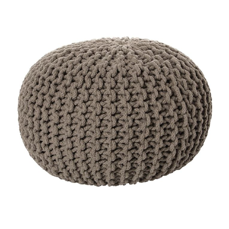 Living & Co Hand Knitted Pouf Grey, , hi-res