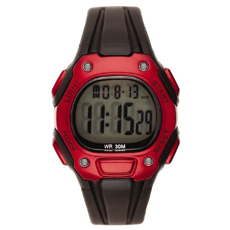 Active Intent Sports Digital Watch Black Red, , hi-res