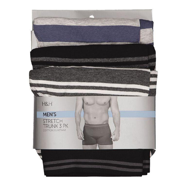 H&H Men's Stretch Boxer 3 Pack, Black, hi-res