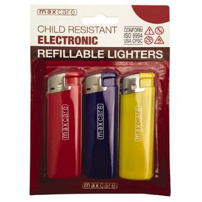 Maxcare Child Resistant Electronic Refillable Lighters 3 Pack
