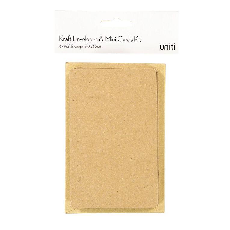 Uniti Cards & Envelopes Mini 8 Pack Kraft, , hi-res