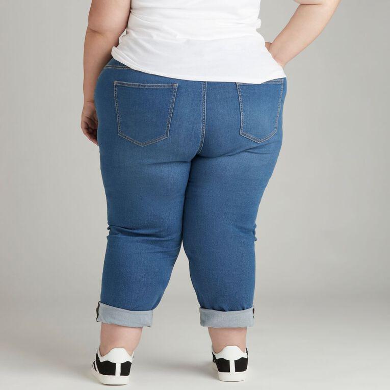 H&H Women's Plus Straight Leg Jeans, Denim Mid, hi-res