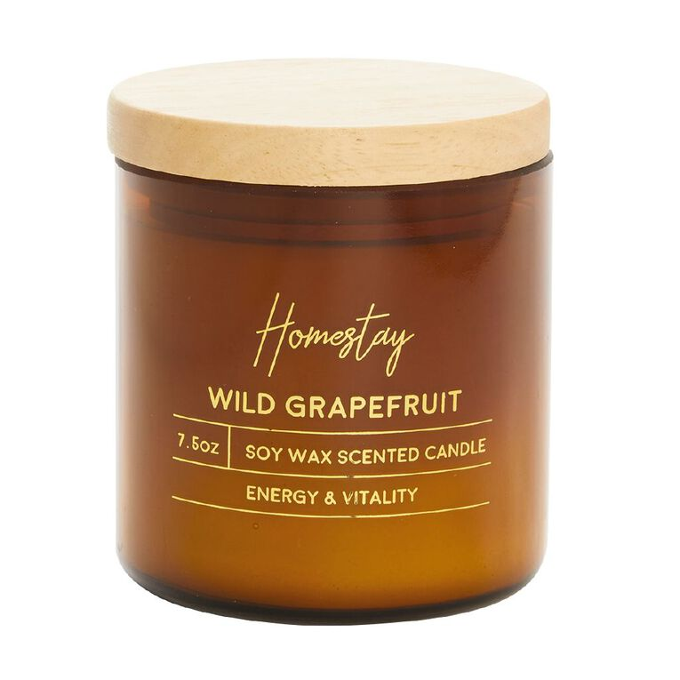 Living & Co Homestay Candle Wild Grapefruit Brown 7.5oz, Brown, hi-res