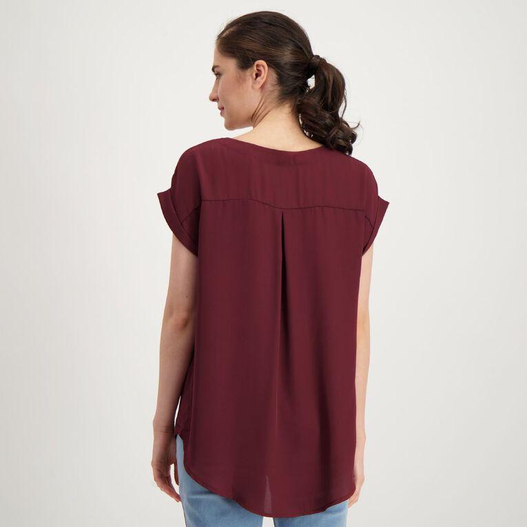 H&H Women's Roll Cuff Shell Top, Red Dark, hi-res