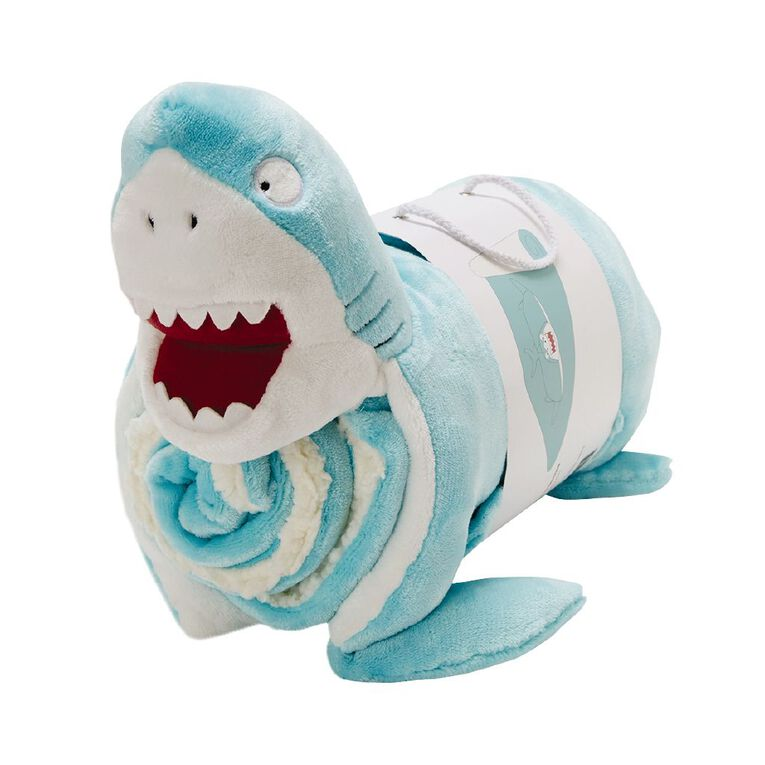 Living & Co Kids Throw with Pillow Shark Turquoise One Size, Turquoise, hi-res