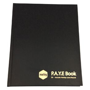 Marbig Wages & Paye Book B4 Hard Cover Black