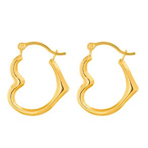 9ct Gold Heart Hoop Earrings Extra Small