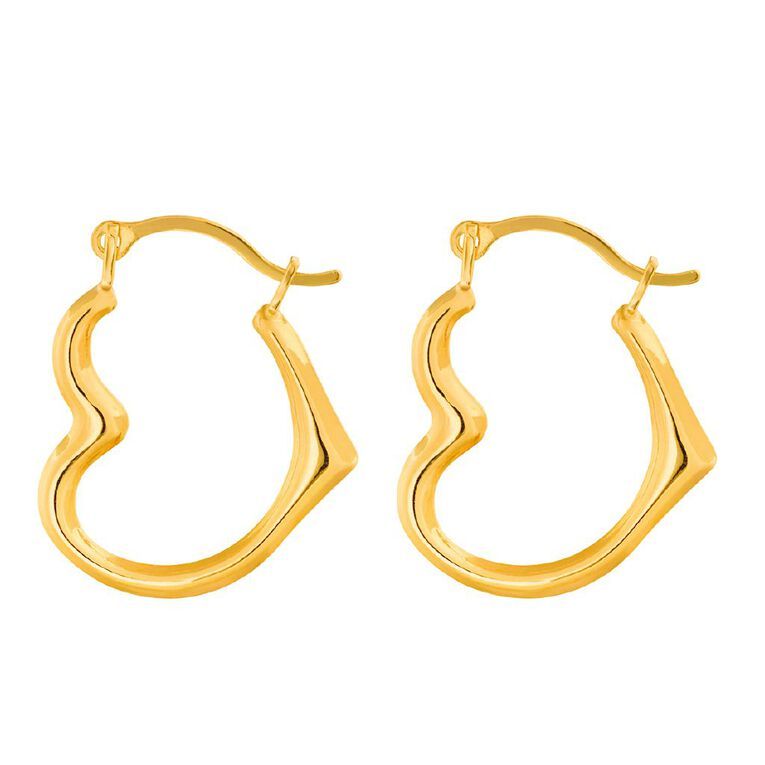 9ct Gold Heart Hoop Earrings Extra Small, , hi-res