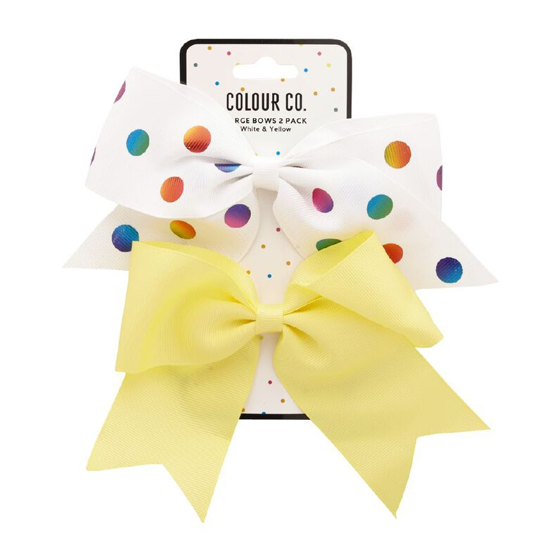 Colour Co. Large Bows White Rainbow Spot and Yellow 2 Pack, , hi-res