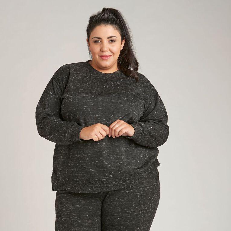 H&H Plus Women's Longline Crew Neck Sweatshirt, Black, hi-res