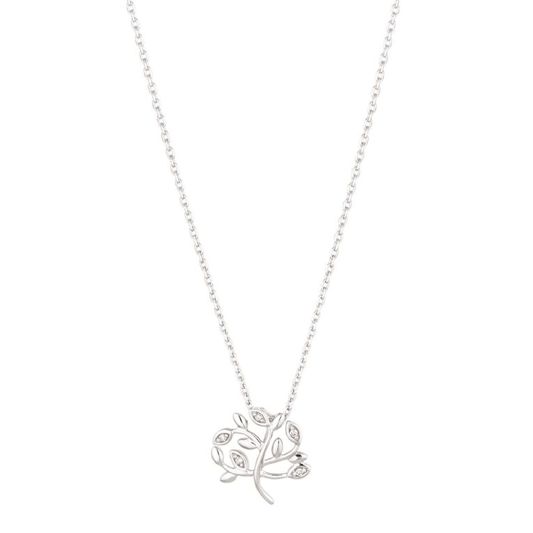 0.02 Carat Diamond Sterling Silver Tree of Life Necklace, , hi-res